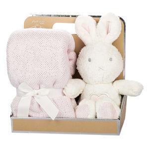 Plyšový zajačik s dekou biela/ružová