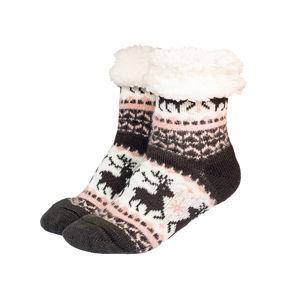 Zimné ponožky s baránkom sivá/ružová