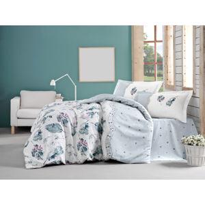 Posteľná bielizeň bavlna Luda biela/zelená/sivá Veľkosť: dvojlôžko 220x200cm + 2x 70x90cm
